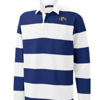 Adult Long Sleeve Rugby Polo, Monogram/Yellow