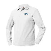 Adult Pique Long Sleeve Polo Sizes AS-AXL, Monogram/Blue
