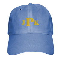 Adult Baseball Cap - Six Panel Twill, Monogram/White