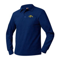 Adult Pique Long Sleeve Polo Sizes AS-AXL, Monogram/Yellow